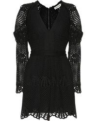Self-Portrait Crochet Minidress - Black