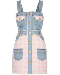 Balmain Minikleid aus Denim und Tweed - Pink