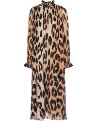 Ganni Robe midi à motif léopard - Marron
