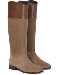 Brunello Cucinelli Stiefel aus Leder und Veloursleder - Braun