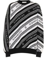 Givenchy Pull en jacquard de laine à logo - Noir