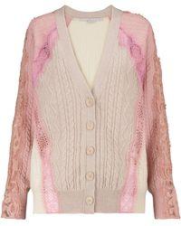 Stella McCartney Cardigan aus Schurwolle mit Spitze - Pink