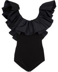 Alexander McQueen Exaggerated Ruffled Bodysuit - Black