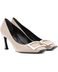Roger Vivier Belle Vivier Trompette Patent-leather Court Shoes - Natural