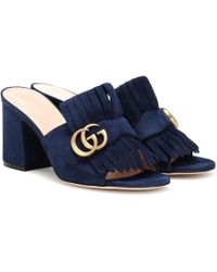 Gucci Suede Mid Heel Gg Mules - Blue