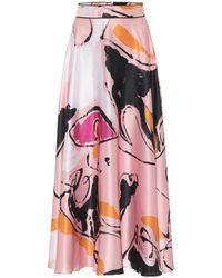 ROKSANDA Colvin Silk-satin Midi Skirt - Pink