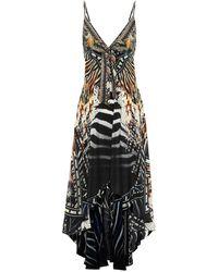 Camilla Printed Silk Maxi Dress - Black