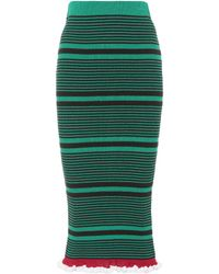 KENZO - Striped Cotton-blend Skirt - Lyst