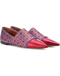 Etro - Leather-trimmed Jacquard Ballerinas - Lyst