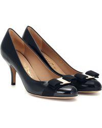Ferragamo Carla 70 Patent Leather Pumps - Black