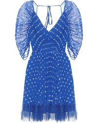 Self-Portrait Polka-dot Chiffon Minidress - Blue