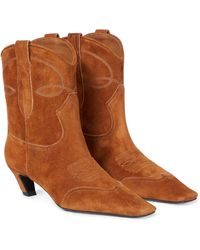 Khaite Dallas Suede Cowboy Boots - Brown