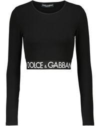 Dolce & Gabbana Top raccourci en coton mélangé à logo - Noir