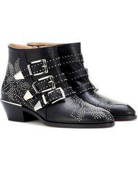 Chloé Susanna Ankle Boots Aus Leder Mit Nieten - Schwarz