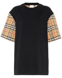 Burberry T-Shirt Over Motivo Check - Nero