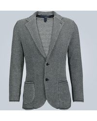 Lardini Striped Knitted Cotton Blazer - Blue