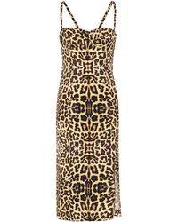 Dries Van Noten Vestido con estampado de leopardo - Amarillo
