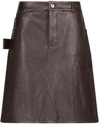 Bottega Veneta Mini-jupe en cuir - Marron