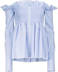 Victoria, Victoria Beckham Smocked Off-shoulder Cotton Shirt - Blue
