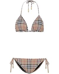 Burberry Bikini triangle imprimé à carreaux - Neutre