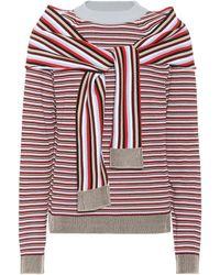 Isa Arfen Suéter de algodón a rayas - Rojo