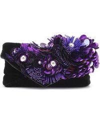 Dries Van Noten Embellished Velvet Clutch - Black