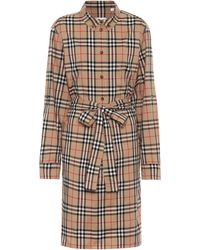 Burberry Vintage Check Cotton Tie-waist Shirt Dress - Natural
