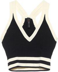 Adam Selman Sport Ribbed-knit Crop Top - Black