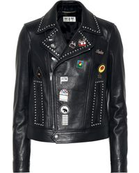 Saint Laurent - Embellished Leather Jacket - Lyst