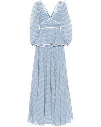 STAUD Panarea Cotton-blend Maxi Dress - Blue