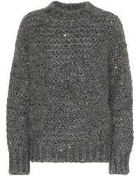 Brunello Cucinelli Sequined Mohair-blend Sweater - Gray