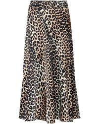 Ganni Falda midi de seda con print leopardo - Negro
