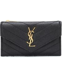 Saint Laurent Envelope Small Leather Wallet - Black