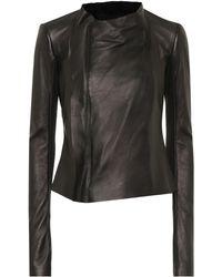 Rick Owens Low Neck Leather Biker Jacket - Black
