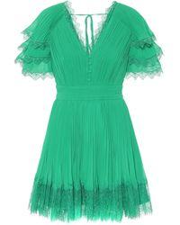 Self-Portrait Lace-trimmed Chiffon Minidress - Green