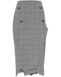 Vetements Houndstooth Wool-twill Skirt - Grey