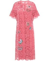 Valentino Embellished Lace Dress - Pink