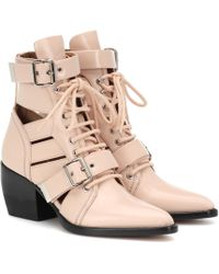 Chloé Rylee Leather Ankle Boots - Pink