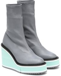 Clergerie Bliss Leather Platform Boots - Grey