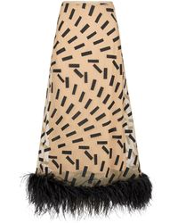 Maison Margiela Feather-trimmed Printed Midi Skirt - Natural
