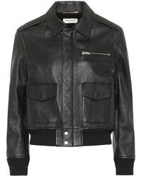 Saint Laurent Leather Bomber Jacket - Black