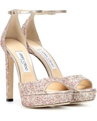 9570666ff3e0 Lyst - Jimmy Choo Miranda 100 Glitter Sandals in Natural