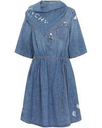 Givenchy Logo Denim Minidress - Blue