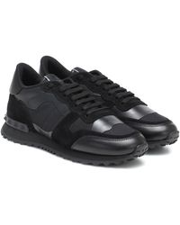 Valentino Rockrunner Leather Trainers - Black