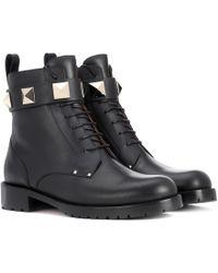 Valentino Ankle Boots aus Leder - Schwarz