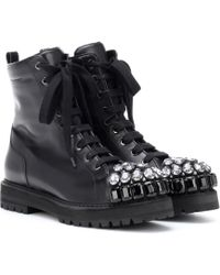 Rochas - Embellished Leather Combat Boots - Lyst