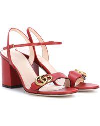 Gucci Sandalias Marmont de piel - Rojo