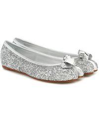 Maison Margiela Tabi Glitter Ballerina Shoes - Metallic
