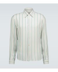 Gucci Gestreiftes Hemd aus Seide - Grün
