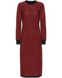 Marc Jacobs Zigzag Stripe Merino Wool Dress - Red